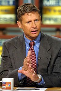 """Then-New Mexico Governor Gary Johnson speaks about drug legalization policy on NBC's """"Meet the Press"""" in 2001."""