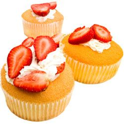 Fresh fruit is the perfect accompaniment to angel food cupcakes.
