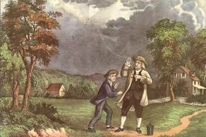 This  Currier & Ives lithograph shows Benjamin Franklin and his son William using a kite and key during a storm to prove that lightning was electricity. Some experts doubt the incident ever happened.