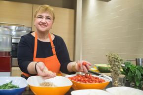 Lidia Bastianich teaching a pasta-making class at Eataly in New York City in 2015.