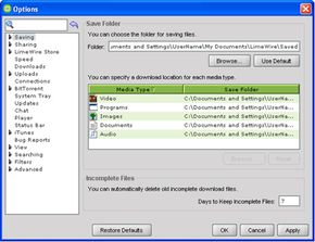 Users can save files and create organizational folders.