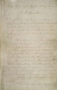 Page one of the original Emancipation Proclamation