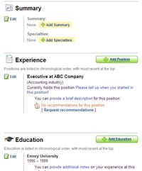 LinkedIn summary, experience and education page