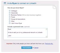 A LinkedIn invitation
