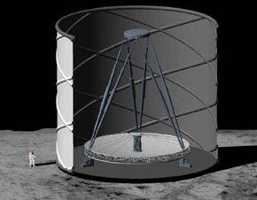 A NASA rendering of a lunar liquid mirror telescope