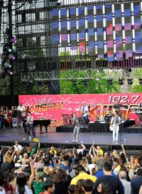 The Jonas Brothers play to a crowd during the annual Wango Tango concert.