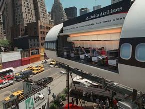 """In another """"living billboard"""" campaign, Delta Air Lines loaded a plane with 10 passengers in Times Square during summer 1997 in New York. Today, some imaginative designs call for billboards to double as studio apartments in the sky."""