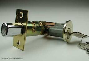 A cylinder deadbolt lock, in the open position (top) and the locked position (bottom)