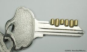 The right combination of pins lines up perfectly with the notches in the key.