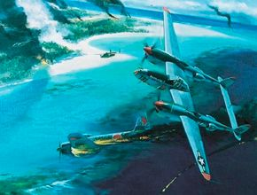 Lockheed P-38 Lightnings took a particularly heavy toll on enemy bombers and fighters in the Pacific Theater. In 1945, a pair of Lightnings, escorting a B-17 Flying Fortress, were the first Allied fighters to land on Japanese soil following Japan's surrender. See more flight pictures.