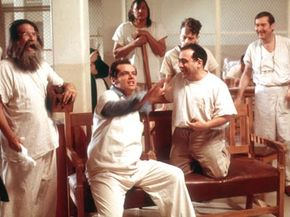 """The lobotomization of McMurphy (center, played by Jack Nicholson in the 1975 film) and others in """"One Flew Over the Cuckoo's Nest"""" has long influenced how the procedure was perceived in mainstream culture. See more mental disorder pictures."""