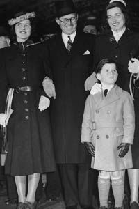 U.S. Ambassador Joseph Kennedy with three of his children in 1938, before Rosemary's lobotomy. From left to right: Rosemary, Joseph, Teddy and Eunice.