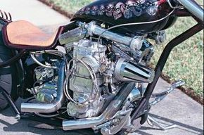 What looks like a nuclear powerplant is really a supercharged V-twin with nitrous oxide injection that puts out only slightly less energy.