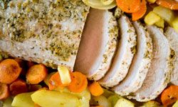 Root veggies such as carrots, onions, parsnips and potatoes hold up well during the roast's long cooking time.