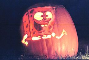 On this jack-o'-lantern, SpongeBob Squarepants' body is carved in relief.