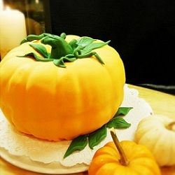 A harvest themed cake is the perfect way to top of a Thanksgiving meal.