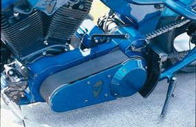 Note the short, black (of course) shift lever that's used to stir Punisher's gears by hand.