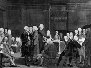 Revolutionary War Image Gallery The Second Continental Congress discussing the Declaration of Independence. See more pictures of the American Revolution.