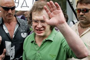 Sergei Mavrodi leaves prison in May 2007. MMM, the pyramid scheme Mavrodi founded, defrauded more than a million Russians in the 1990s. See more money scam pictures.