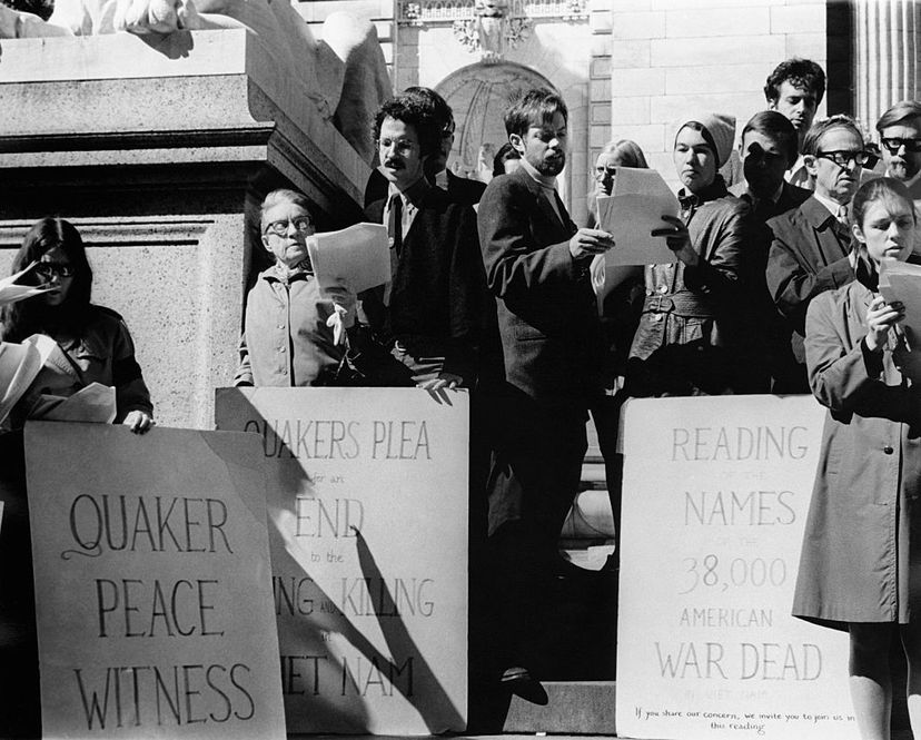 Quakers read out a list of names of those who have already died in Vietnam as a protest against America's involvement in the war,  in New York City in 1970. Quakers have historically been pacifists. Hulton-Deutsch Collection/CORBIS/Corbis via Getty Images