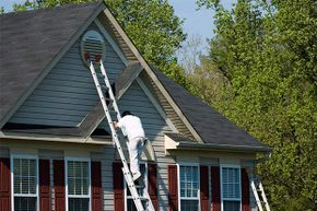 If you're painting the roof eaves, the ladder should extend 1 to 3 feet above the roof.