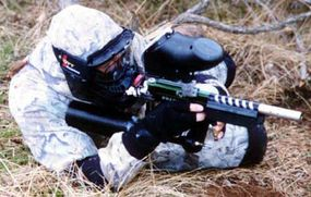 Paintball players always wear face and head protection to prevent serious eye and ear injuries.