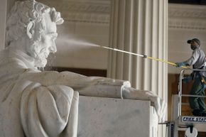 Even Abe gets a pressure wash twice a year from the National Park Service.