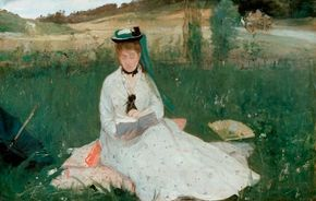Reading by Berthe Morisot (oil on fabric, 18-1/8x                              28-1/4 inches) is housed at the Cleveland Museum of Art.