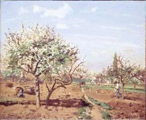 Orchard in Bloom, Louveciennes by Camille Pissarro (oil National