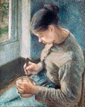 Camille Pissarro's Café Au Lait (oil on canvas, 25-11/16x29-9/16 inches) resides at the Art Institute of Chicago.