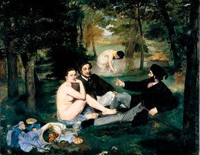 Edouard Manet's Le Déjeuner sur l'Herbe                              (oil on canvas, 81-7/8x104-1/8 inches)                                            resides in the Musée d'Orsay in Paris.
