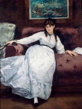 Edouard Manet's Le Repose (Portrait of Berthe Morisot) (oil on canvas, 57-7/8x43-3/4 inches) is exhibited at the Rhode Island School of Design in Providence, RI.