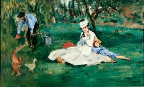 Edouard Manet's The Monet Family in their Garden                              at Argentuil (oil on canvas, 24x39-1/4 inches)                                            hangs in the Metropolitan Museum of Art in New York.