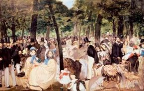 Music in the Tuileries Garden by Edouard Manet                              (oil on canvas, 30x46-1/2 inches) is housed in the                                            National Gallery of London.