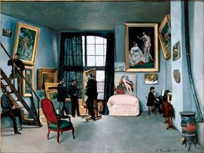 Frédéric Bazille's The Studio on the rue de la Condamine is an oil on canvas (38-5/8 x 50-5/8 inches), which can be seen at Musée d'Orsay, Paris.