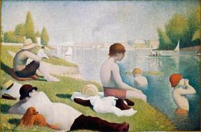 Georges Seurat's Bathers at Asnières (oil on canvas, 79-1/8x National Gallery of London.