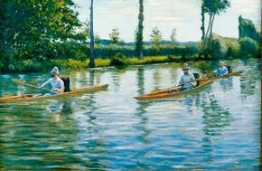 Boating on the Yerres (Perissoires sur l'Yerres) by Gustave Caillebotte is an oil on canvas (40-3/4 x 61-3/8 inches) that is housed in Milwaukee Art Museum.