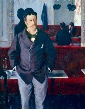Gustave Caillebotte's In a Café is an oil on canvas (61 x 45-1/4 inches), which belongs to Musee des Beaux-Arts, Rouen, France.