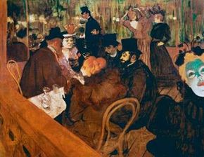 Henri de Toulouse-Lautrec's At the Moulin Rouge (oil on canvas, 48-7/16x55-1/2 inches) is housed at The Art Institute of Chicago.