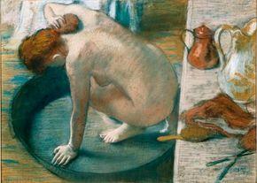The Tub by Hilaire-Germain-Edgar Degas is a pastel (23-5/8 x 32-5/8 inches), which is on display at Musée d'Orsay, Paris, France.