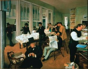 Hilaire-Germain-Edgar Degas's The Cotton Exchange at New Orleans (28-3/4 x 36-1/4 inches) that can be seen at Musée Municipal de Pau, France.
