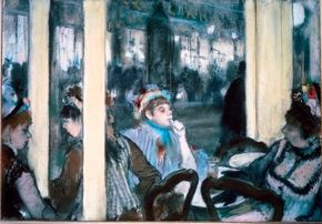 Hilaire-Germain-Edgar Degas's Women in Front of a Café, Evening is a pastel over monotype (16-1/8 x 23-5/8 inches), which is on display at Musée d'Orsay, Paris.