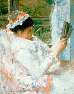 Mary Cassatt's Woman Reading (oil on canvas, 32-1/4x Art Museum