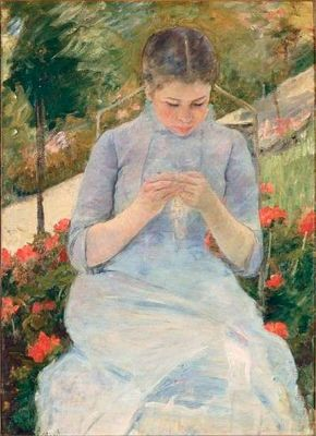 Young Woman Sewing in a Garden by Mary Cassatt (oil on the Musée
