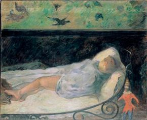 The Little One is Dreaming, Etude by Paul Gauguin (oil the