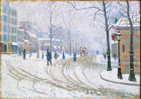 Snow, Boulevard de Clichy, Paris by Paul Signac (oil on canvas, 18-1/4x25-7/8 inches) hangs in the Minneapolis Institute of Arts.