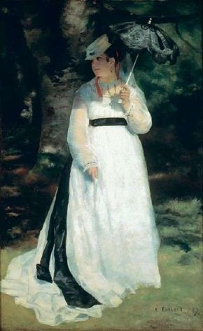 Pierre-Auguste Renoir's Lise with a Parasol                              (oil on canvas, 72-1/2x45-1/4 inches)                                            hangs in the Museum Folkwang in Essen, Germany.