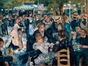 The Ball at the Moulin de la Galette by Pierre-Auguste Renoir (oil on canvas, 51-1/2x69 inches) hangs in the Musée d'Orsay in Paris.