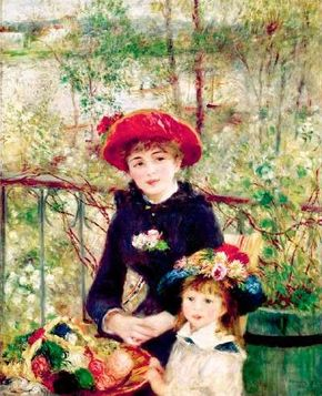 Two Sisters (On the Terrace) by Pierre-Auguste                              Renoir (oil on canvas, 39-9/16x37-/8 inches) is                                            housed at the Art Institute of Chicago.