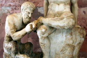 This statue of the Greek deity Pan removing a splinter from a satyr's foot dates back to the third century B.C.E.